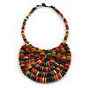Statement Multicoloured Wood Bead Bib Necklace - 44cm Long/ 10cm Drop