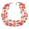 210g Solid 3 Strand Bubblegum Pink Glass & Ceramic Bead Necklace In Silver Tone - 60cm L/ 5cm