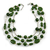 210g Solid 3 Strand Military Green Glass & Ceramic Bead Necklace In Silver Tone - 60cm L/ 5cm