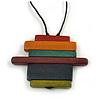 Multicoloured Multi Bar Geometric Wood Pendant with Black Cotton Cord - 80cm Long Adjustable