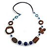 Long Wood, Glass, Ceramic Bead Blue Suede Cord Necklace in Blue/ Brown - 90cm Long