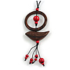 Ring and Bird Wood Bead Pendant with Black Cotton Cord (Brown/ Red) - 78cm Long/ 15cm Pendant - Adjustable