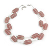 Two Strand Square Dusty Pink Glass Bead Silver Tone Wire Necklace - 48cm L/ 5cm Ext