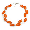 Two Strand Square Peach Orange Glass Bead Silver Tone Wire Necklace - 48cm L/ 5cm Ext