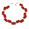 Two Strand Square Red Glass Bead Silver Tone Wire Necklace - 48cm L/ 5cm Ext