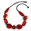 Statement Cluster Ceramic, Wood Bead Necklace with Black Cotton Cord (Red) - 60cm L
