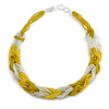 Unique Braided Glass Bead Necklace In Yellow/ Transparent - 52cm Long