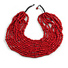 Statement Multistrand Layered Bib Style Wood Bead Necklace In Cherry Red - 50cm Shortest/ 70cm Longest Strand