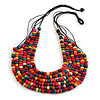 Multistrand Layered Multicoloured Wood Bead Black Cotton Cord Necklace - 72cm Long