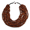 Statement Multistrand Layered Bib Style Wood Bead Necklace In Brown - 50cm Shortest/ 70cm Longest Strand