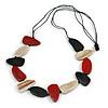 Geometric Melange Red/ White/ Black  Wood Bead Black Cotton Cord Necklace - 94cm L (Max Length) Adjustable