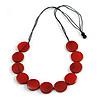 Melange Red Wood Coin Bead Black Cotton Cord Necklace - 84cm L (Max Length) Adjustable