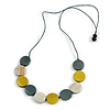 Grey/ Off White/ Dusty Yellow Wood Coin Bead Grey Cotton Cord Necklace - 86cm L (Max Length) Adjustable