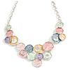 Pastel Multi Matte Enamel Hammered Disc Cluster Necklace In Silver Tone - 40cm L/ 6cm Ext