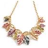 Pastel Multicoloured Matte Enamel Leaf Necklace In Gold Tone - 40cm L/ 5cm Ext - 40cm L/ 6cm Ext