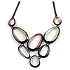 V-Shape Pastel Multicoloured Matte Enamel Oval Cluster Necklace In Black Tone - 40cm L/ 6cm Ext