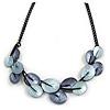 Metallic Blue/ Violet Blue Matte Enamel Leaf Necklace In Black Tone - 40cm L/ 6cm Ext