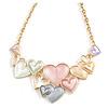 Pastel Multicoloured Matte Enamel Heart Cluster Necklace In Gold Tone - 40cm L/ 6cm Ext