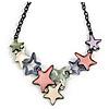 Pastel Multicoloured Matte Enamel Star Cluster Necklace In Black Tone - 40cm L/ 6cm Ext