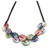 Pastel Multicoloured Matte Enamel Leaf Necklace In Black Tone - 40cm L/ 6cm Ext