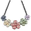 Pastel Multicoloured Matte Enamel Floral Necklace In Black Tone - 40cm L/ 6cm Ext