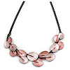 Pastel Pink Matte Enamel Leaf Necklace In Black Tone - 40cm L/ 6cm Ext