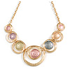 Statement Gold Tone Graduated Hammered Circle Necklace in Pastel Multi - 43cm L/ 6cm Ext
