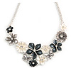 Metallic White/ Metallic Grey Matte Enamel Daisy Cluster and Butterfly Necklace In Silver Tone - 42cm L/ 6cm Ext - 40cm L/ 5cm Ext