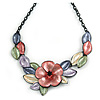 Pastel Multicoloured Matte Enamel Poppy Flower and Leaf Necklace In Black Tone - 45cm L/ 6cm Ext