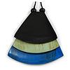 Black/ Mint/ Blue Geometric Triangular Wood Pendant with Long Black Cotton Cord Necklace - 9cm L Pendant/ 100cm L/ (max length) - Adjust