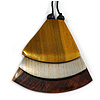 Gold/ Metallic Silver/ Brown Geometric Triangular Wood Pendant with Long Black Cotton Cord Necklace - 9cm L Pendant/ 100cm L/ (max length) - Adjust