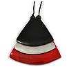 Black/ Metallic Silver/ Red Geometric Triangular Wood Pendant with Long Black Cotton Cord Necklace - 9cm L Pendant/ 100cm L/ (max length) - Adjust