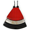 Red/ Metallic Silver/ Black Geometric Triangular Wood Pendant with Long Black Cotton Cord Necklace - 9cm L Pendant/ 100cm L/ (max length) - Adjust