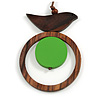 Brown/ Green Bird and Circle Wooden Pendant Cotton Cord Long Necklace - 84cm L/ 10cm Pendant