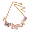 Pastel Pink/ Purple Enamel Butterfly with Gold Tone Chain Necklace - 40cm L/ 6cm Ext