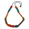 Multicoloured Geometric Wooden Bead Necklace with Black Cotton Cord - 84cm Long Adjustable