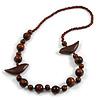 Dark Brown Wood Bead Bird Long Necklace - 80cm Long