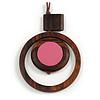 Brown/ Pink Double Circle Wooden Pendant Brown Cotton Cord Long Necklace - 80cm L/ 10cm Pendant - Adjustable