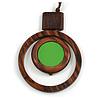 Brown/ Grass Green Double Circle Wooden Pendant Brown Cotton Cord Long Necklace - 80cm L/ 10cm Pendant - Adjustable