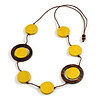 Yellow/ Brown Coin Wood Bead Cotton Cord Necklace - 88cm Long - Adjustable
