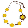 Yellow/ Brown Coin Wood Bead Cotton Cord Necklace - 80cm Long - Adjustable