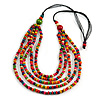 Multicoloured Multistrand Layered Wood Bead with Cotton Cord Necklace - 90cm Max length- Adjustable