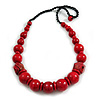 Chunky Red Wood Bead with Black Cotton Cord Necklace - 64cm L