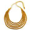 Yellow Multistrand Layered Wood Bead with Cotton Cord Necklace - 90cm Max length- Adjustable
