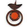 Brown/ Orange Bird and Circle Wooden Pendant Cotton Cord Long Necklace - 84cm L/ 10cm Pendant