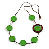 Green/ Brown Coin Wood Bead Cotton Cord Necklace - 80cm Long - Adjustable