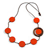 Orange/ Brown Coin Wood Bead Cotton Cord Necklace - 80cm Long - Adjustable