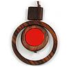 Brown/ Red Double Circle Wooden Pendant Brown Cotton Cord Long Necklace - 80cm L/ 10cm Pendant - Adjustable