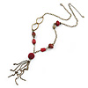 Vintage Inspired Red Cotton and Acrylic Bead, Chain Tassel Necklace In Bronze Tone - 60cm L/ 8cm Ext, 13cm Tassel