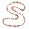 Pink Glass, Ceramic Bead With Gold Tone Wire Long Necklace - 88cm L
